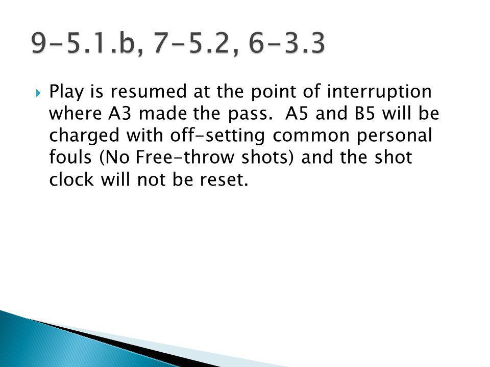 Play is resumed at the point of interruption where A3 made the pass.