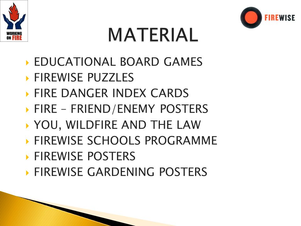 EDUCATIONAL BOARD GAMES FIREWISE PUZZLES FIRE DANGER INDEX CARDS FIRE – FRIEND/ENEMY POSTERS YOU, WILDFIRE AND THE LAW FIREWISE SCHOOLS PROGRAMME FIREWISE POSTERS FIREWISE GARDENING POSTERS
