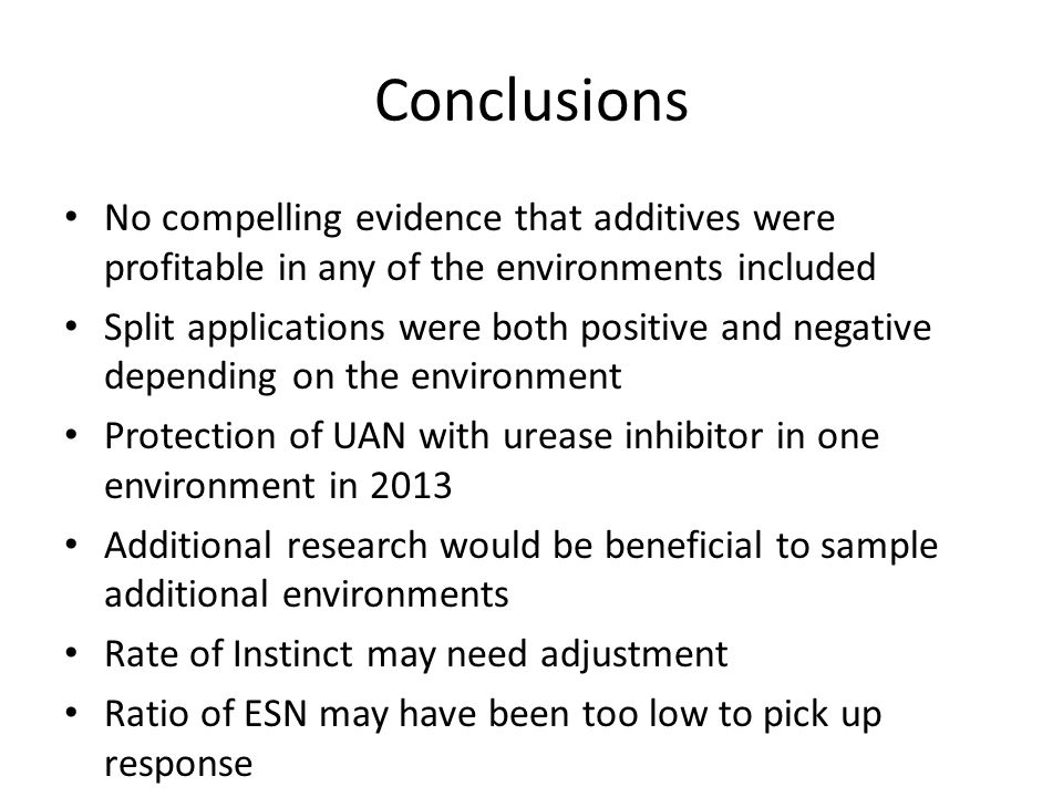 Conclusions No compelling evidence that additives were profitable in any of the environments included Split applications were both positive and negati
