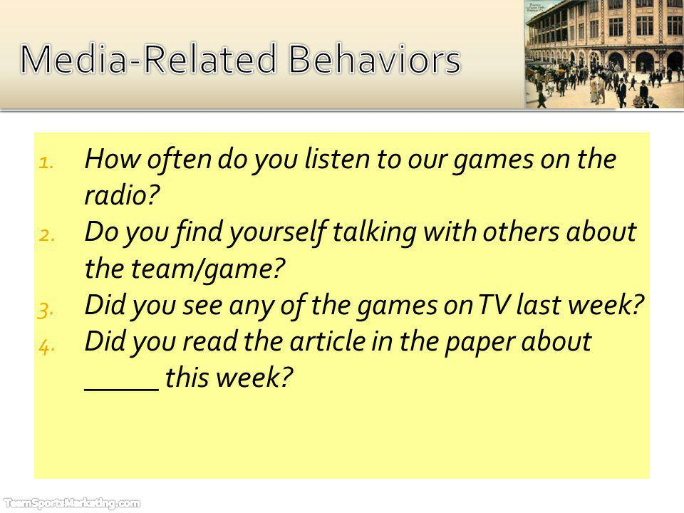 1. How often do you listen to our games on the radio? 2. Do you find yourself talking with others about the team/game? 3. Did you see any of the games