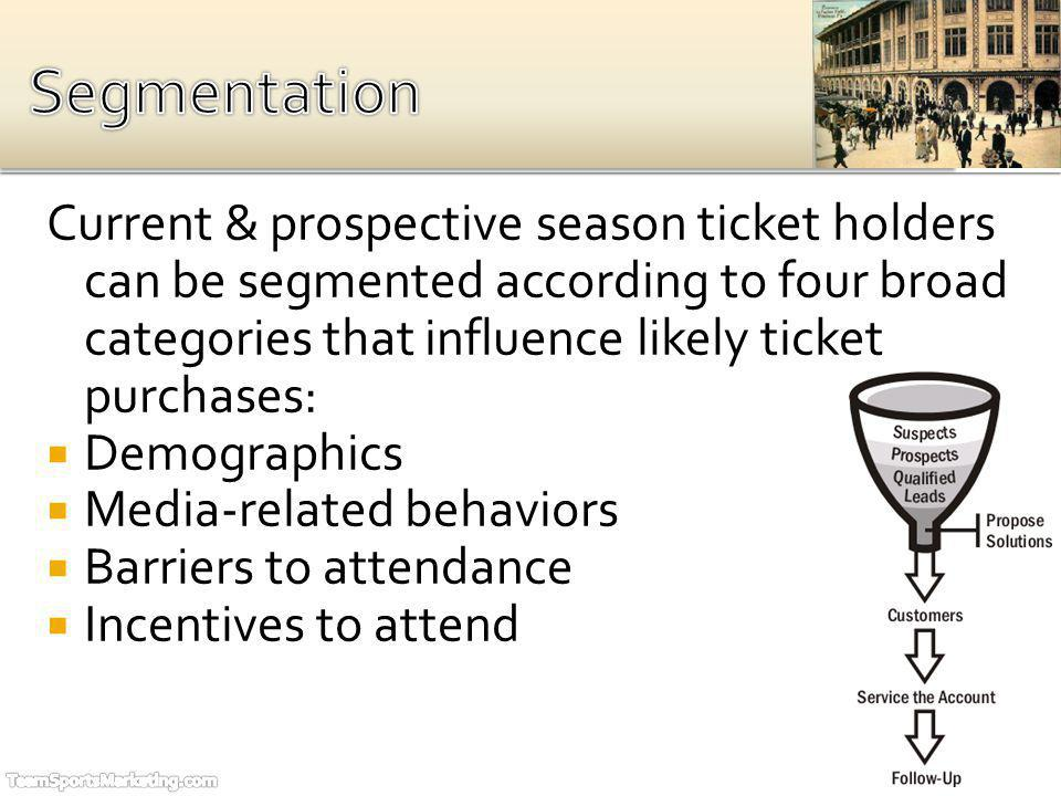 Current & prospective season ticket holders can be segmented according to four broad categories that influence likely ticket purchases: Demographics Media-related behaviors Barriers to attendance Incentives to attend