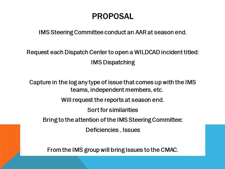 PROPOSAL IMS Steering Committee conduct an AAR at season end.