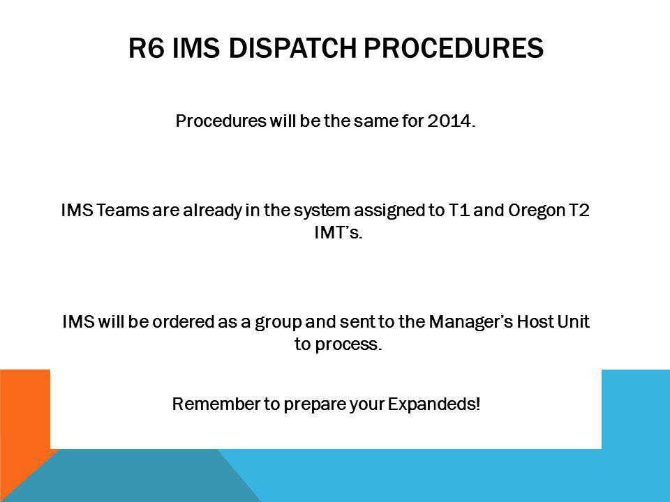 R6 IMS DISPATCH PROCEDURES Procedures will be the same for 2014.