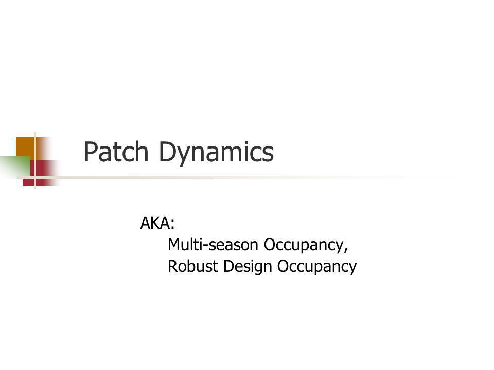Patch Dynamics AKA: Multi-season Occupancy, Robust Design Occupancy