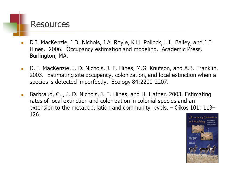 Resources D.I. MacKenzie, J.D. Nichols, J.A. Royle, K.H. Pollock, L.L. Bailey, and J.E. Hines. 2006. Occupancy estimation and modeling. Academic Press