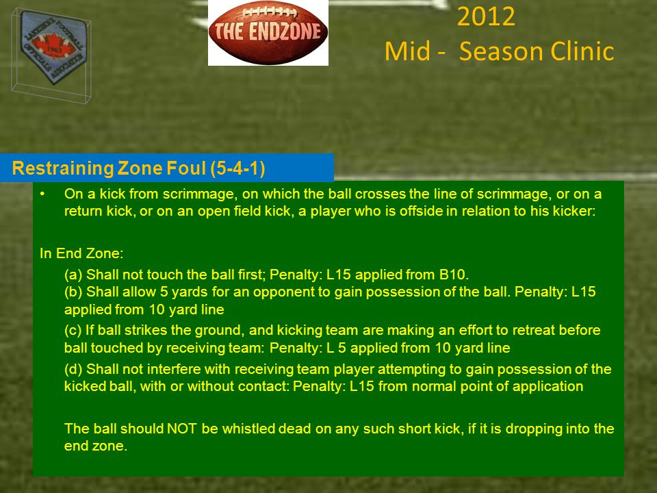 2012 Mid - Season Clinic On a kick from scrimmage, on which the ball crosses the line of scrimmage, or on a return kick, or on an open field kick, a player who is offside in relation to his kicker: In End Zone: (a) Shall not touch the ball first; Penalty: L15 applied from B10.