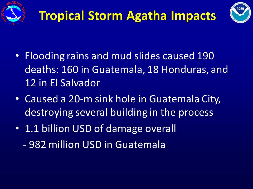 Tropical Storm Agatha Impacts Flooding rains and mud slides caused 190 deaths: 160 in Guatemala, 18 Honduras, and 12 in El Salvador Caused a 20-m sink hole in Guatemala City, destroying several building in the process 1.1 billion USD of damage overall - 982 million USD in Guatemala