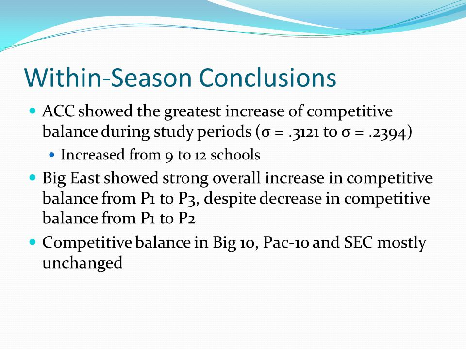 Within-Season Conclusions ACC showed the greatest increase of competitive balance during study periods (σ =.3121 to σ =.2394) Increased from 9 to 12 schools Big East showed strong overall increase in competitive balance from P1 to P3, despite decrease in competitive balance from P1 to P2 Competitive balance in Big 10, Pac-10 and SEC mostly unchanged