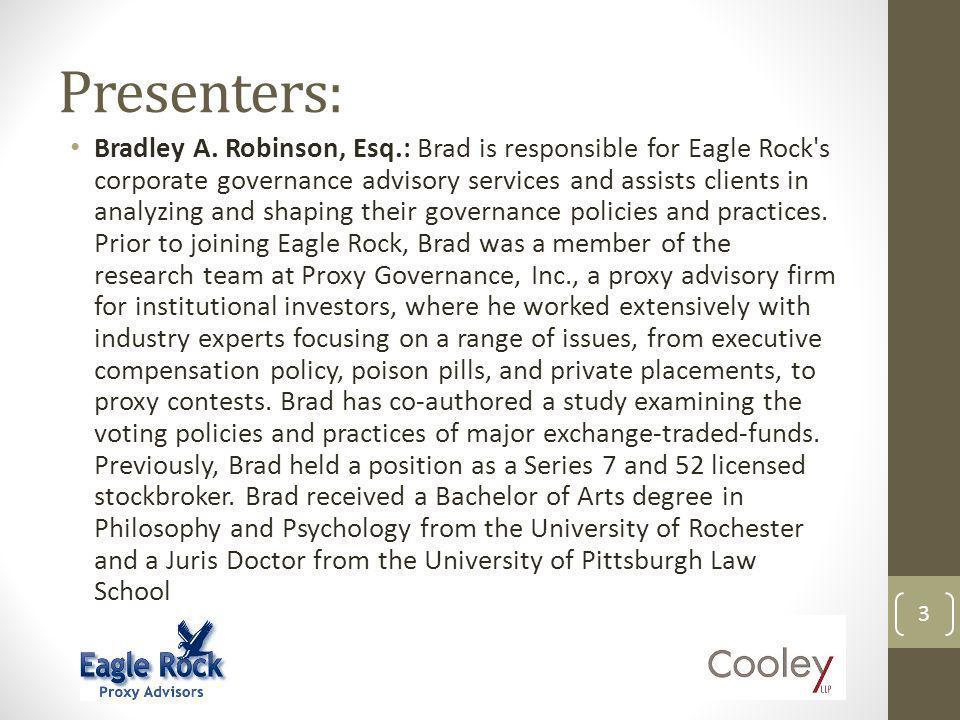 Presenters: Bradley A.