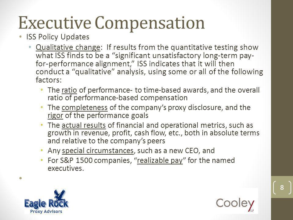 Executive Compensation 9 Pay Measures Realizable pay shows alignment between changes in executive compensation and changes in returns to shareholders over a period of time – typically three years.