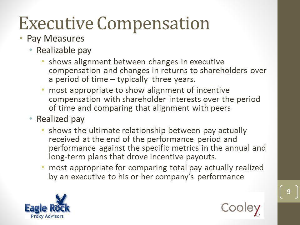 Executive Compensation 9 Pay Measures Realizable pay shows alignment between changes in executive compensation and changes in returns to shareholders