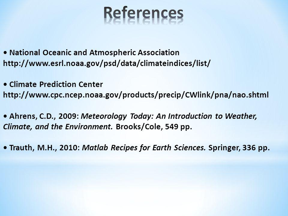 National Oceanic and Atmospheric Association http://www.esrl.noaa.gov/psd/data/climateindices/list/ Climate Prediction Center http://www.cpc.ncep.noaa.gov/products/precip/CWlink/pna/nao.shtml Ahrens, C.D., 2009: Meteorology Today: An Introduction to Weather, Climate, and the Environment.