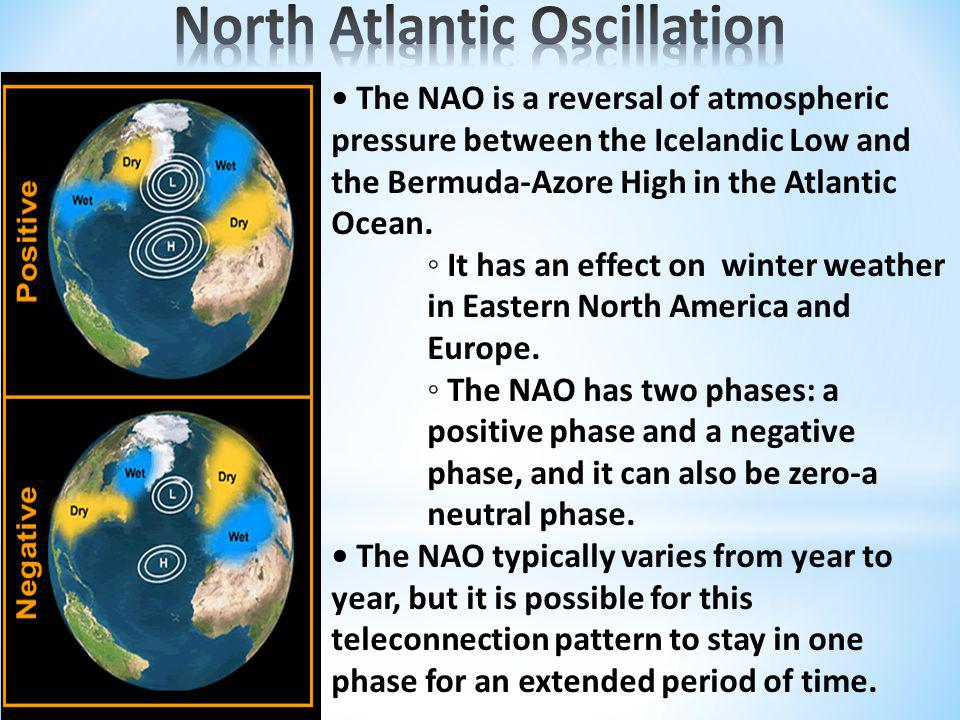 The NAO is a reversal of atmospheric pressure between the Icelandic Low and the Bermuda-Azore High in the Atlantic Ocean.