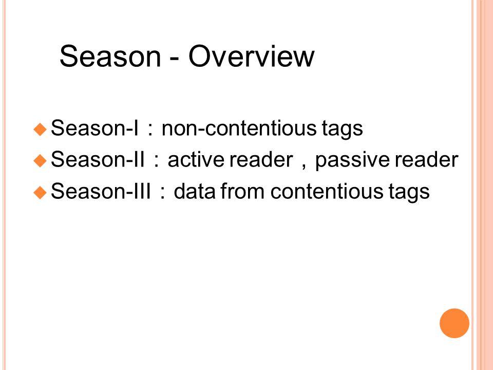 Season - Overview Season-I non-contentious tags Season-II active reader passive reader Season-III data from contentious tags