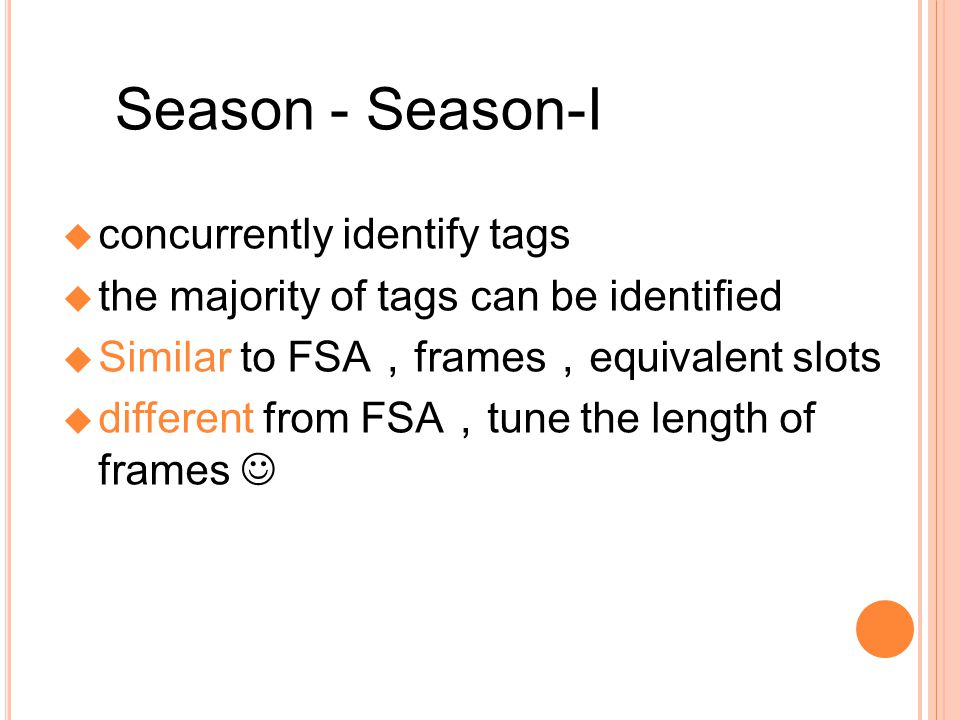 Season - Season-I concurrently identify tags the majority of tags can be identied Similar to FSA frames equivalent slots different from FSA tune the length of frames