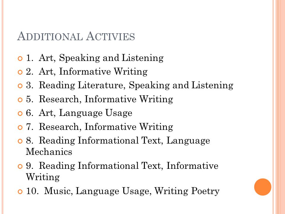 A DDITIONAL A CTIVIES 1. Art, Speaking and Listening 2. Art, Informative Writing 3. Reading Literature, Speaking and Listening 5. Research, Informativ