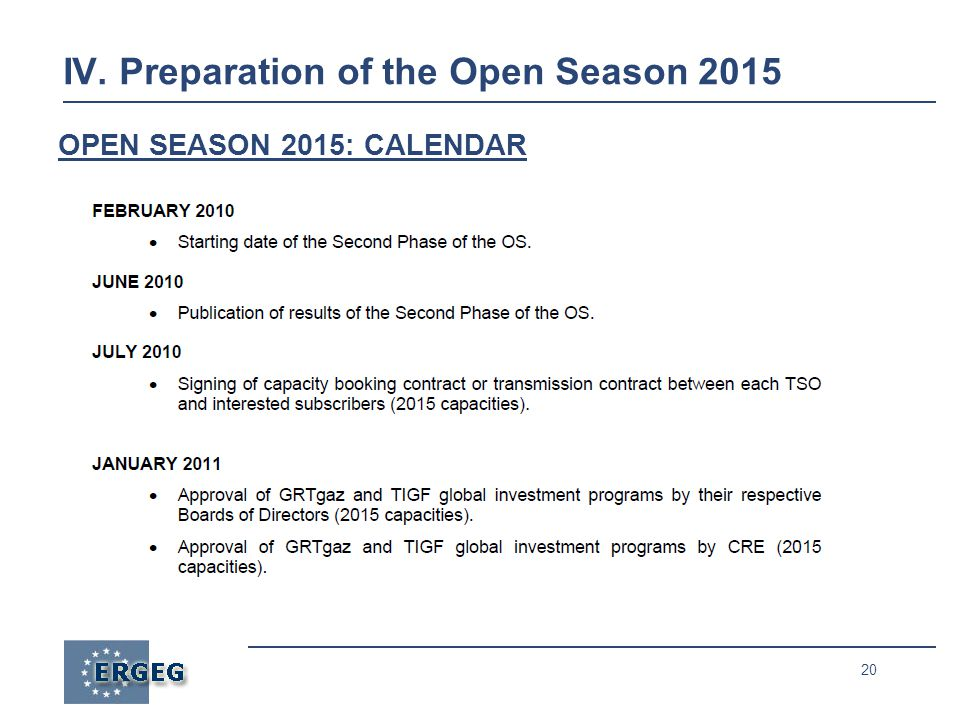 20 IV. Preparation of the Open Season 2015 OPEN SEASON 2015: CALENDAR