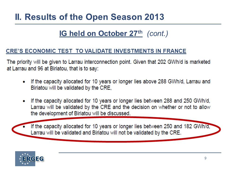 9 IG held on October 27 th (cont.) CRES ECONOMIC TEST TO VALIDATE INVESTMENTS IN FRANCE