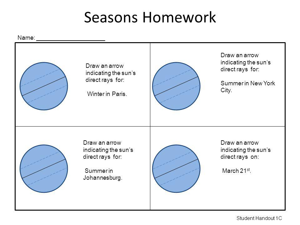 Seasons Homework Draw an arrow indicating the suns direct rays for: Winter in Paris. Name: _____________________ Draw an arrow indicating the suns dir