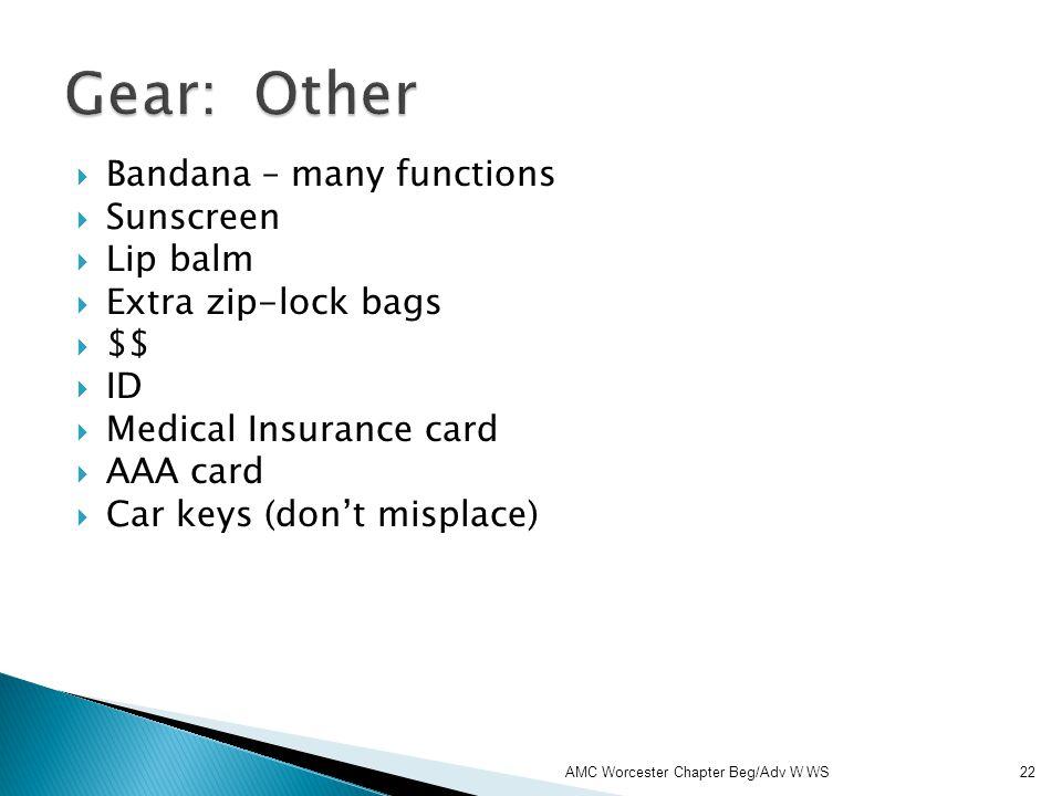 Bandana – many functions Sunscreen Lip balm Extra zip-lock bags $$ ID Medical Insurance card AAA card Car keys (dont misplace) AMC Worcester Chapter B