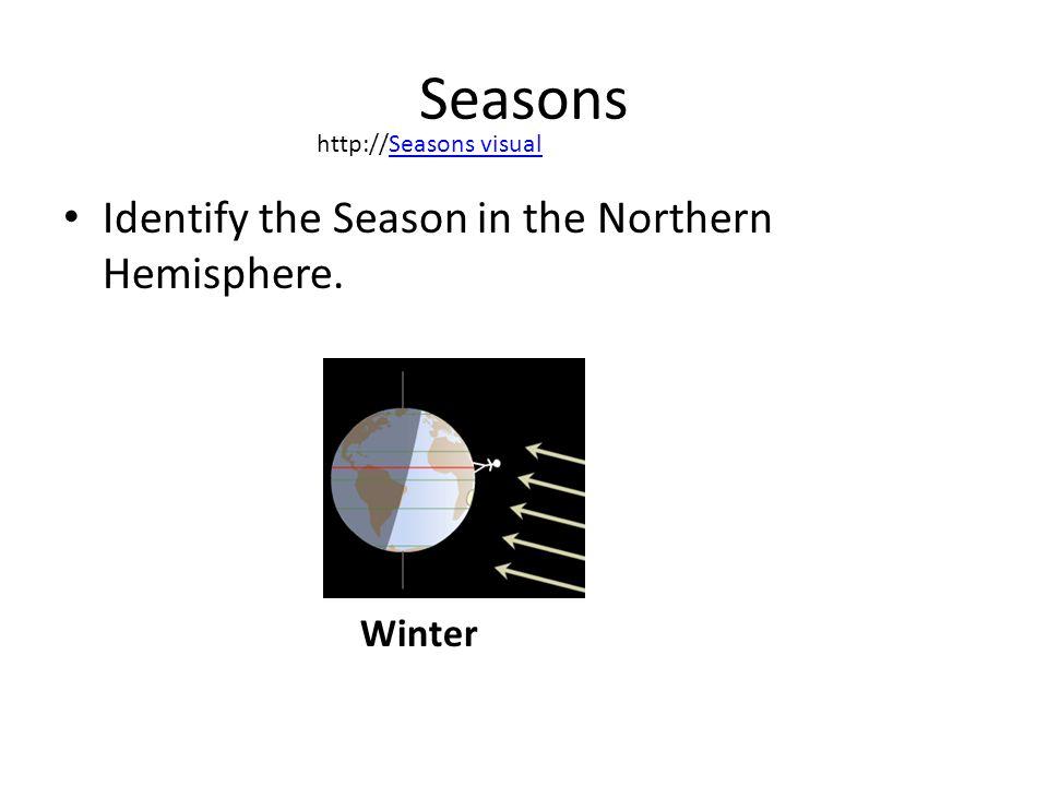 Seasons Identify the Season in the Northern Hemisphere. http://Seasons visualSeasons visual Winter