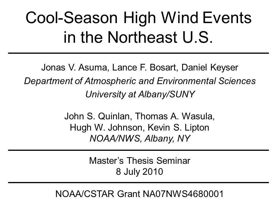Cool-Season High Wind Events in the Northeast U.S.