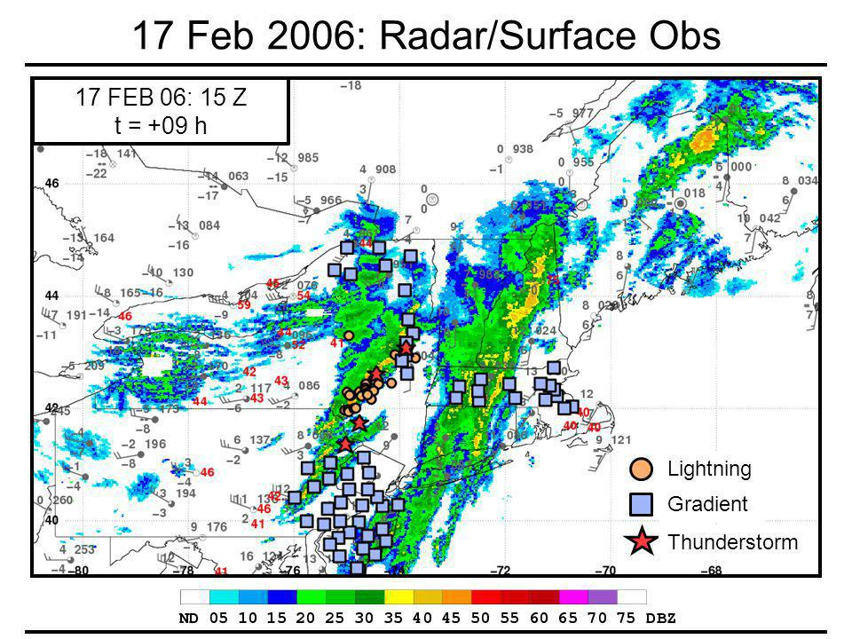 17 Feb 2006: Radar/Surface Obs 17 FEB 06: 15 Z t = +09 h Gradient Thunderstorm Lightning