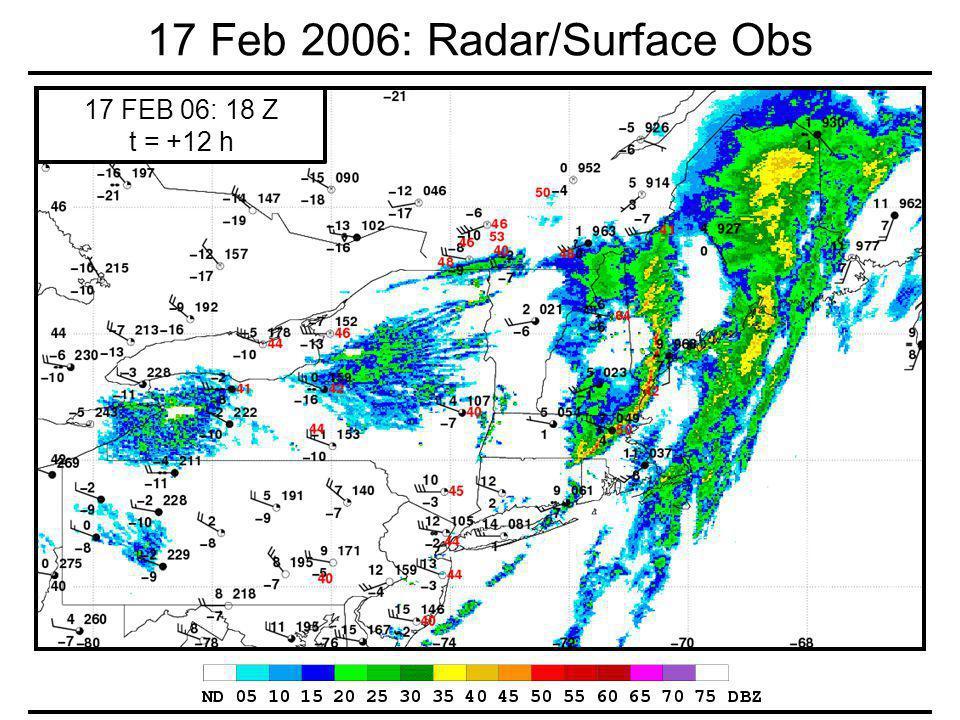 17 Feb 2006: Radar/Surface Obs 17 FEB 06: 18 Z t = +12 h