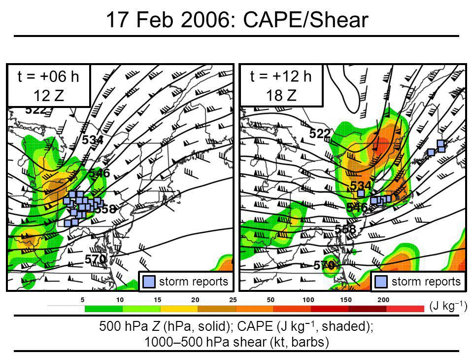 500 hPa Z (hPa, solid); CAPE (J kg 1, shaded); 1000–500 hPa shear (kt, barbs) 17 Feb 2006: CAPE/Shear t = +06 h 12 Z storm reports t = +12 h 18 Z storm reports (J kg 1 )