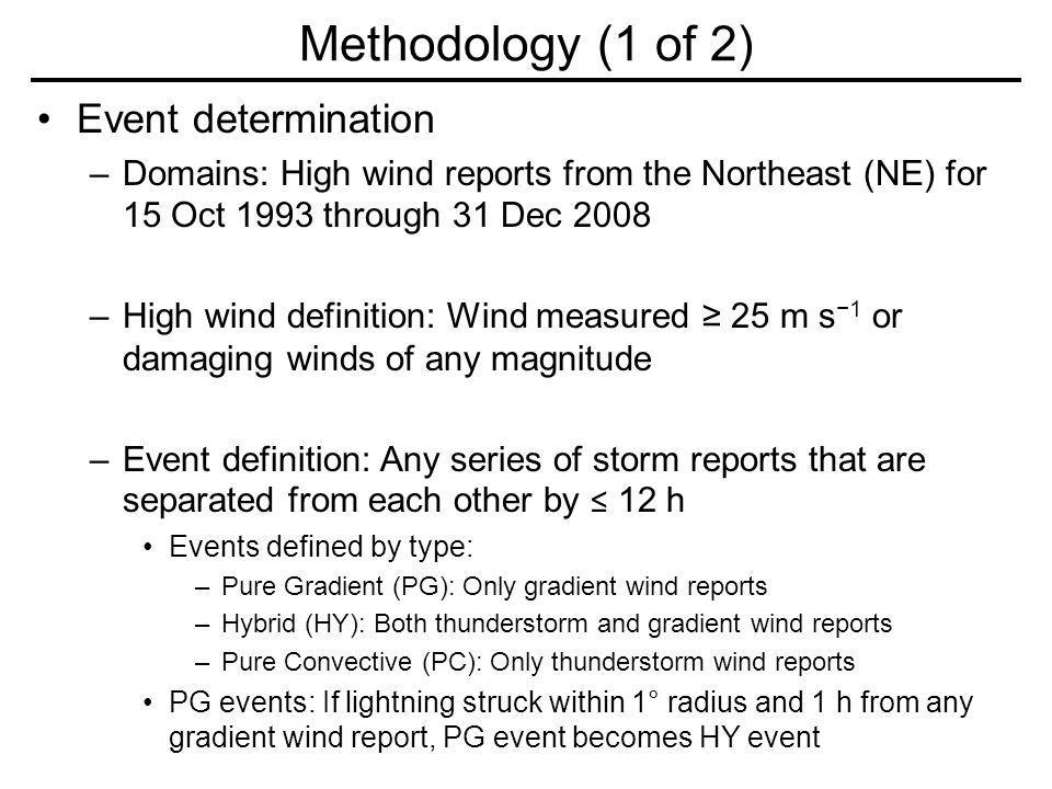 Event determination –Domains: High wind reports from the Northeast (NE) for 15 Oct 1993 through 31 Dec 2008 –High wind definition: Wind measured 25 m s 1 or damaging winds of any magnitude –Event definition: Any series of storm reports that are separated from each other by 12 h Events defined by type: –Pure Gradient (PG): Only gradient wind reports –Hybrid (HY): Both thunderstorm and gradient wind reports –Pure Convective (PC): Only thunderstorm wind reports PG events: If lightning struck within 1° radius and 1 h from any gradient wind report, PG event becomes HY event Methodology (1 of 2)