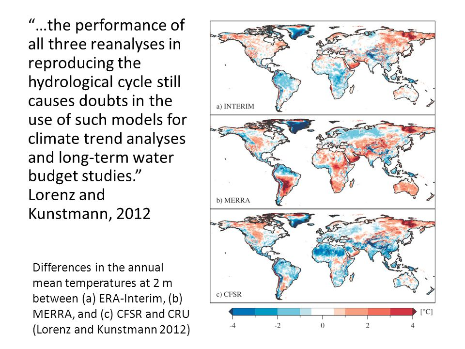 …the performance of all three reanalyses in reproducing the hydrological cycle still causes doubts in the use of such models for climate trend analyses and long-term water budget studies.