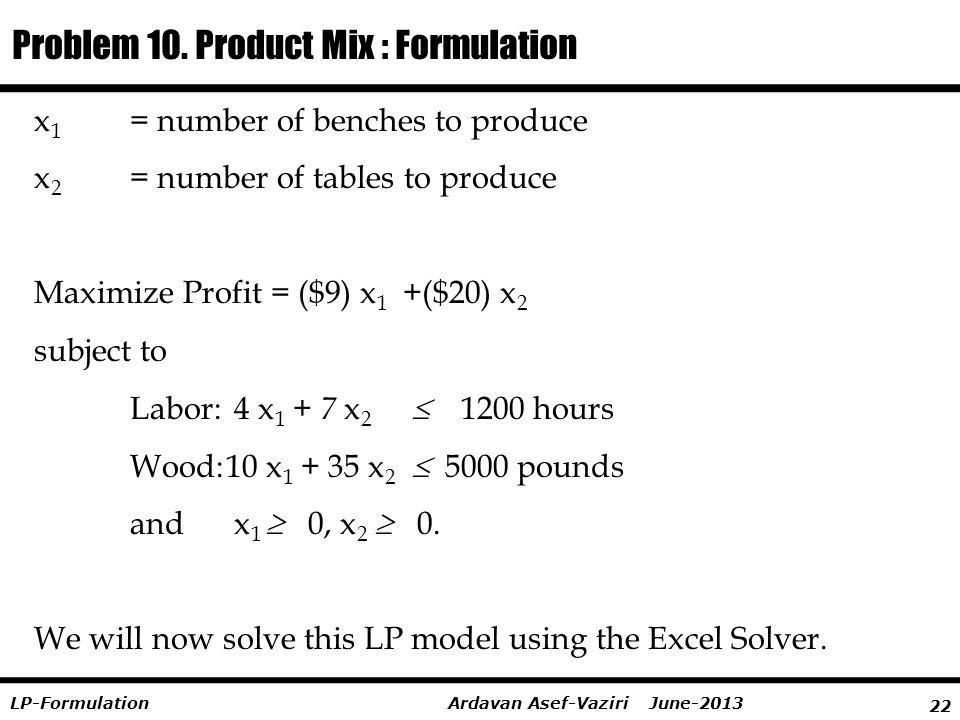 22 Ardavan Asef-Vaziri June-2013LP-Formulation x 1 = number of benches to produce x 2 = number of tables to produce Maximize Profit = ($9) x 1 +($20)