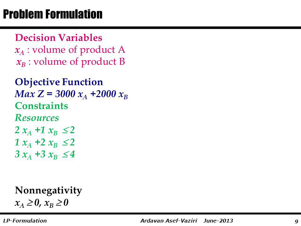 9 Ardavan Asef-Vaziri June-2013LP-Formulation Decision Variables x A : volume of product A x B : volume of product B Objective Function Max Z = 3000 x