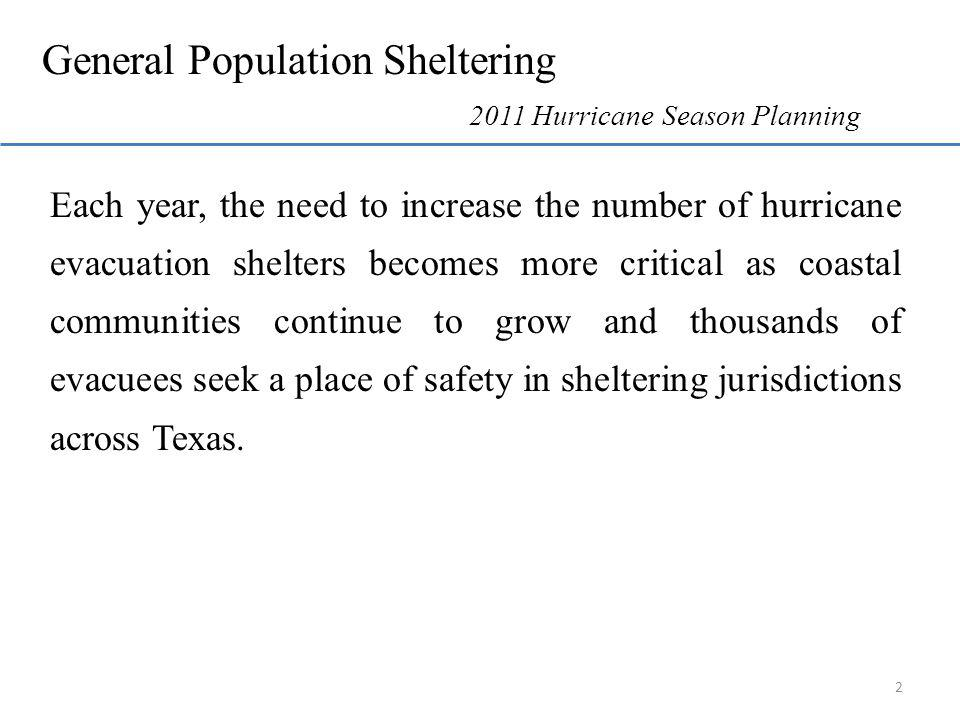 Each year, the need to increase the number of hurricane evacuation shelters becomes more critical as coastal communities continue to grow and thousands of evacuees seek a place of safety in sheltering jurisdictions across Texas.
