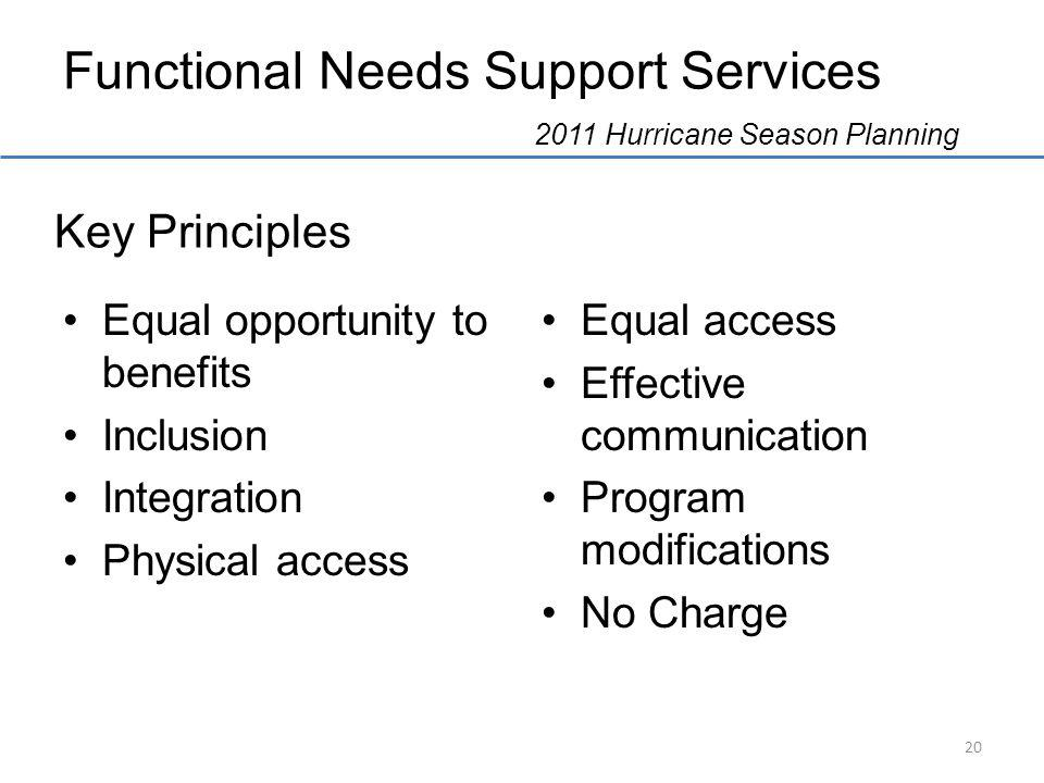 Functional Needs Support Services 2011 Hurricane Season Planning Equal opportunity to benefits Inclusion Integration Physical access Equal access Effective communication Program modifications No Charge Key Principles 20