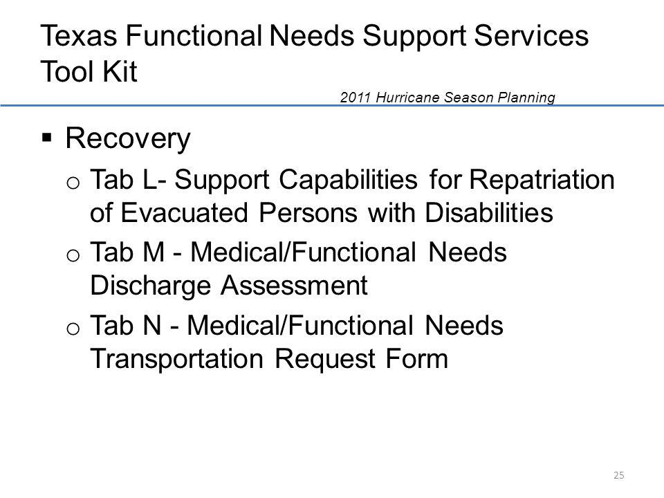 Texas Functional Needs Support Services Tool Kit 2011 Hurricane Season Planning Recovery o Tab L- Support Capabilities for Repatriation of Evacuated Persons with Disabilities o Tab M - Medical/Functional Needs Discharge Assessment o Tab N - Medical/Functional Needs Transportation Request Form 25