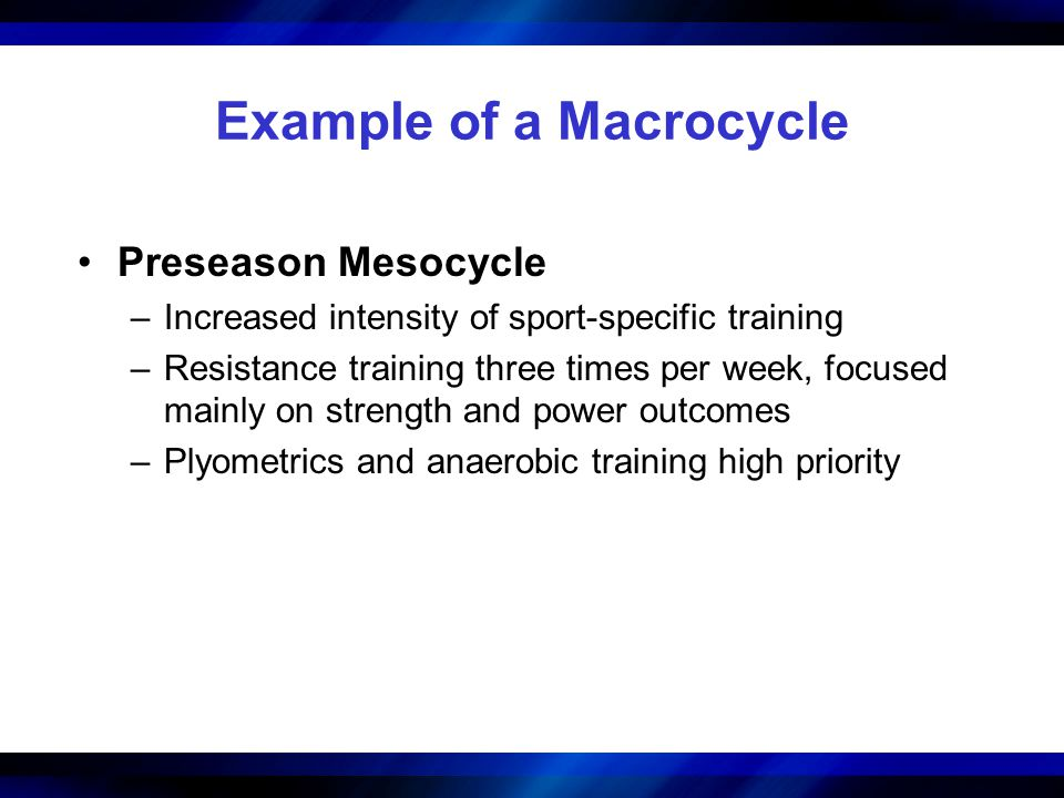 Example of a Macrocycle Preseason Mesocycle –Increased intensity of sport-specific training –Resistance training three times per week, focused mainly