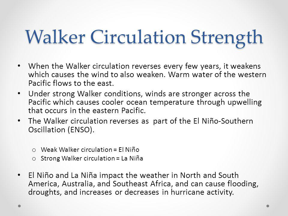 Walker Circulation Strength When the Walker circulation reverses every few years, it weakens which causes the wind to also weaken. Warm water of the w