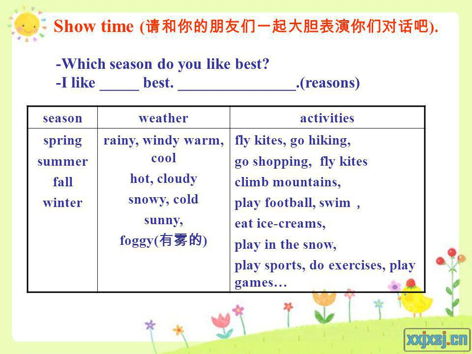 seasonweatheractivities spring summer fall winter rainy, windy warm, cool hot, cloudy snowy, cold sunny, foggy( ) fly kites, go hiking, go shopping, f