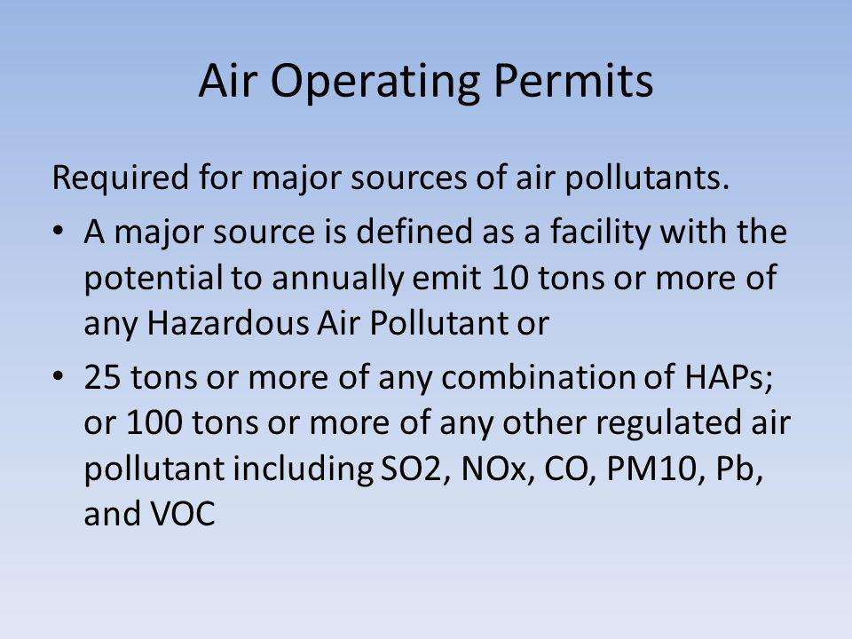 Air Operating Permits Required for major sources of air pollutants.
