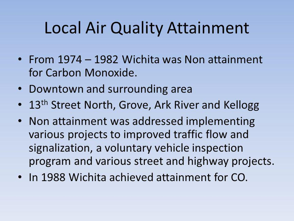 Local Air Quality Attainment From 1974 – 1982 Wichita was Non attainment for Carbon Monoxide.