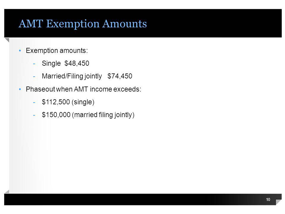 AMT Exemption Amounts Exemption amounts: -Single $48,450 -Married/Filing jointly $74,450 Phaseout when AMT income exceeds: -$112,500 (single) -$150,00