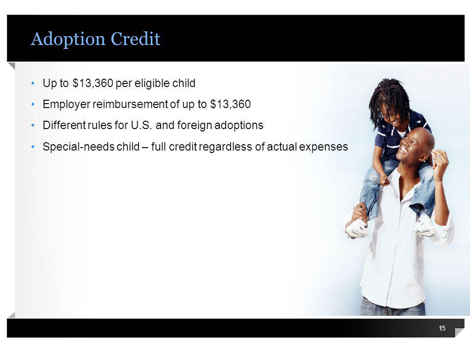 Adoption Credit Up to $13,360 per eligible child Employer reimbursement of up to $13,360 Different rules for U.S. and foreign adoptions Special-needs