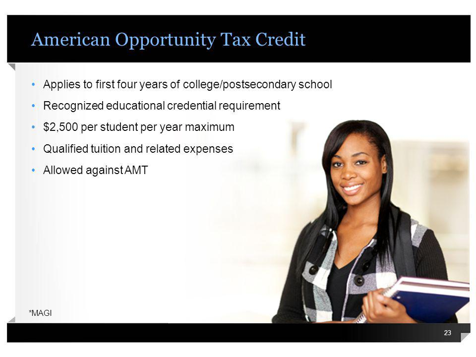 American Opportunity Tax Credit Applies to first four years of college/postsecondary school Recognized educational credential requirement $2,500 per s