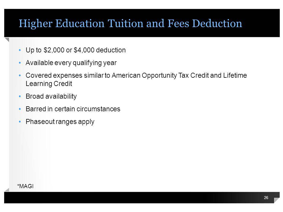 Higher Education Tuition and Fees Deduction Up to $2,000 or $4,000 deduction Available every qualifying year Covered expenses similar to American Oppo