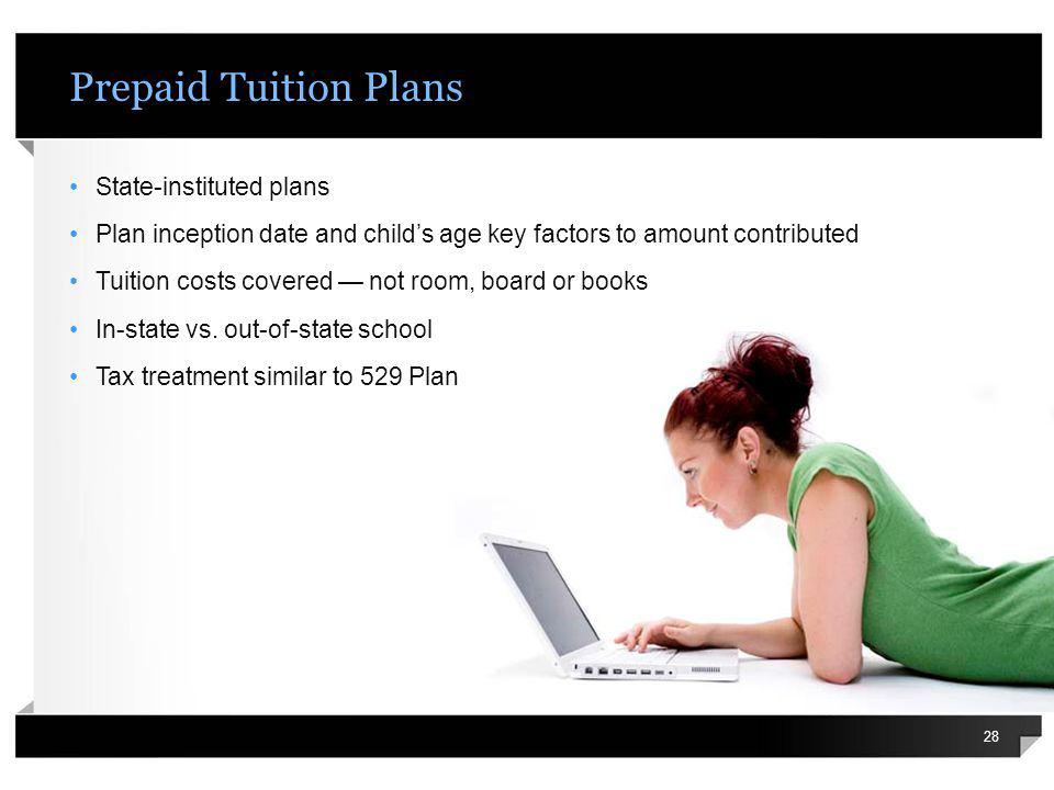 Prepaid Tuition Plans State-instituted plans Plan inception date and childs age key factors to amount contributed Tuition costs covered not room, boar