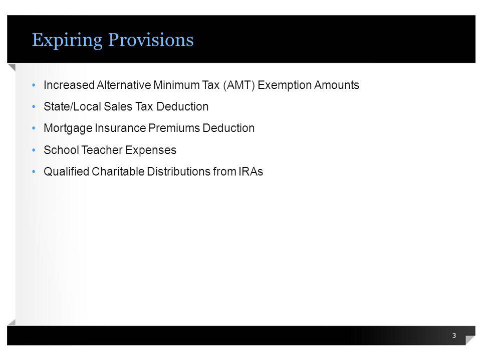 Expiring Provisions Increased Alternative Minimum Tax (AMT) Exemption Amounts State/Local Sales Tax Deduction Mortgage Insurance Premiums Deduction Sc