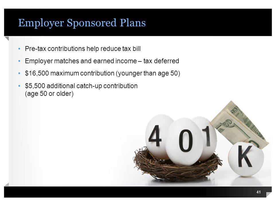 Employer Sponsored Plans Pre-tax contributions help reduce tax bill Employer matches and earned income – tax deferred $16,500 maximum contribution (yo
