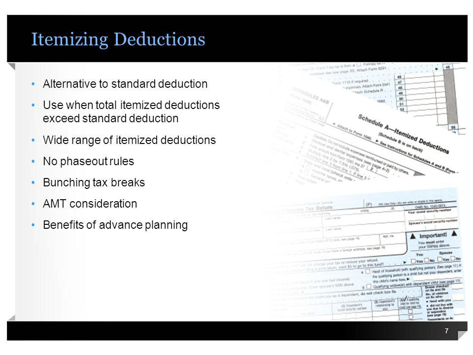 Itemizing Deductions Alternative to standard deduction Use when total itemized deductions exceed standard deduction Wide range of itemized deductions
