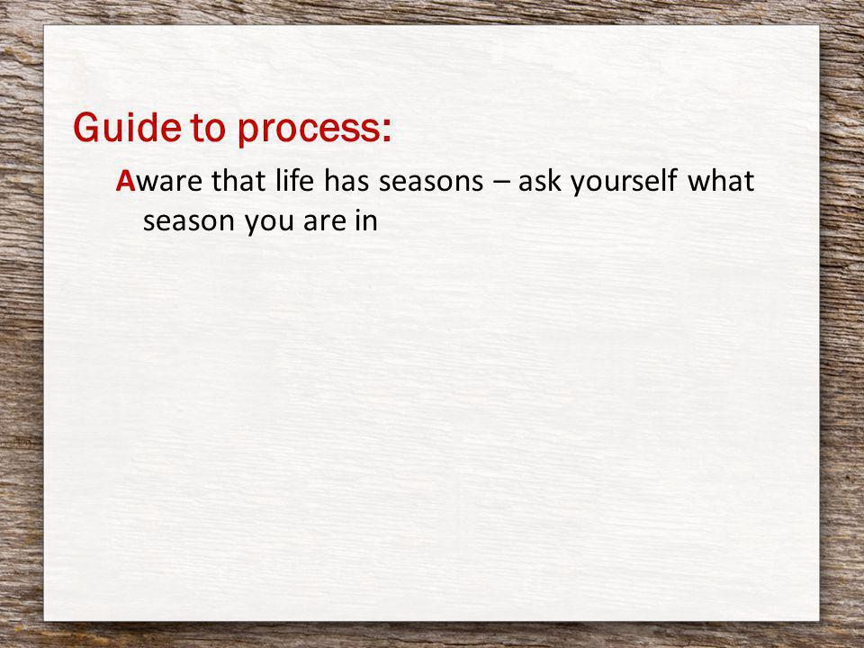 Guide to process: Aware that life has seasons – ask yourself what season you are in